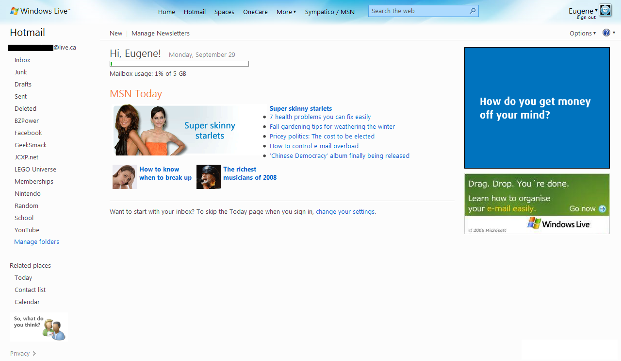 Windows Live Hotmail Wave 3 - Today Page Screenshot