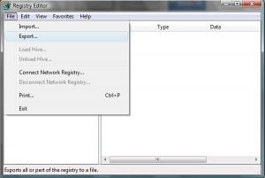 Windows Registry Editor Export Option