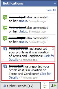 Facebook Fake TOS Violation Notification