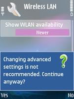 Nokia N95 Wireless LAN Advance Settings - No Gateway Reply Wifi Fix