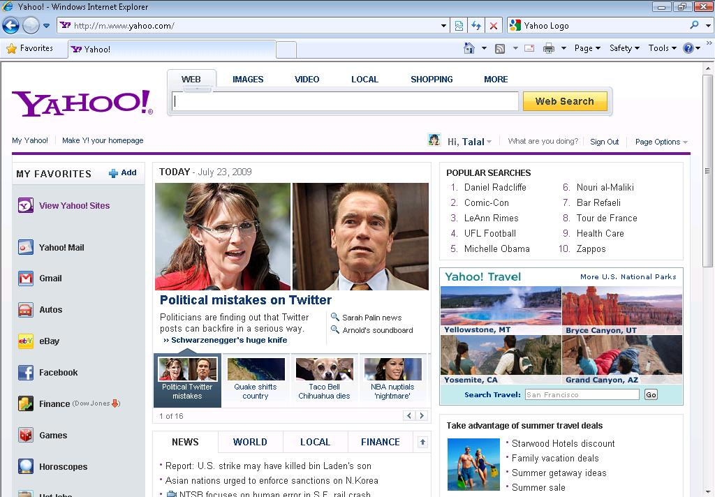 Help for Yahoo homepage