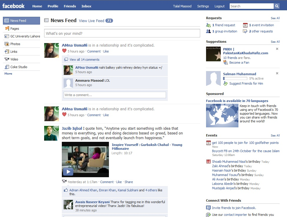 Facebook Main Page